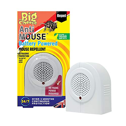 The Big Cheese Anti Mouse Battery Powered Repeller Repellente a Batteria Topo, Bianco