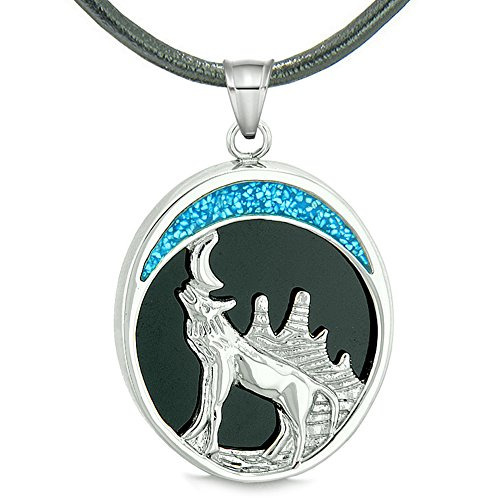 Howling Wolf Wild Woods Moon Magic Protection Powers Amulet Simulated Black Onyx Pendant Leather Necklace