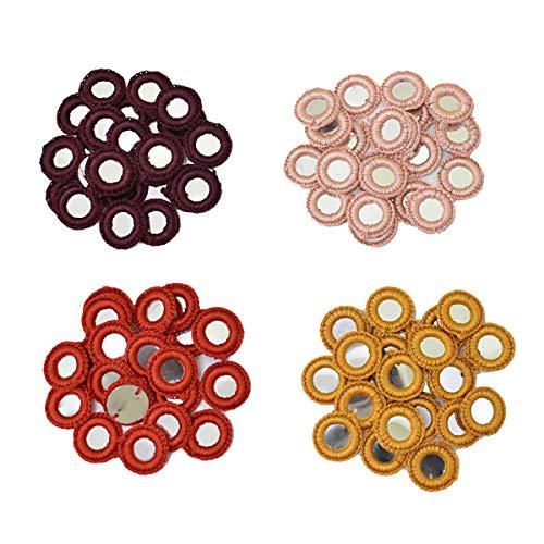 Embroiderymaterial Crochet Shisha Espejos Applique Combo Pack para Bordado y Craft Propósito Combo Pack(25 Piezas Cada Color)