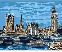 デジタル絵画ノートルダム ・ ド ・ パリ風景 DIY デジタル デジタル絵画現代壁アート キャンバス絵画ユニークなギフト家の装飾 40 × 50 センチメートル