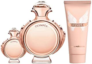Paco Rabanne Olympea for Women 3 Piece Set with 2.7 Ounce Eau de Parfum Spray + 0.34 Ounce Eau de Parfum Spray + 2.5 Ounce Sensual Body Lotion