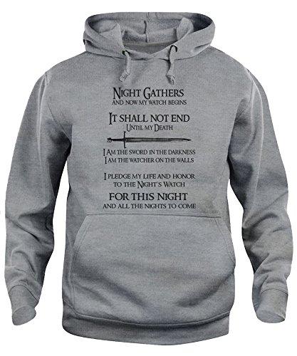 iMage Felpa Cappuccio Unisex Giuramento 2 Guardiani della Notte BARRIERA Game of Thrones - Serie TV XL-Grigio Sport