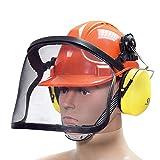 BITUXX® Forstschutzhelm Arbeitsschutzhelm Sicherheitshelm Helm Bauhelm Schutzhelm mit Visier Gesichtsschutz und Gehörschutz