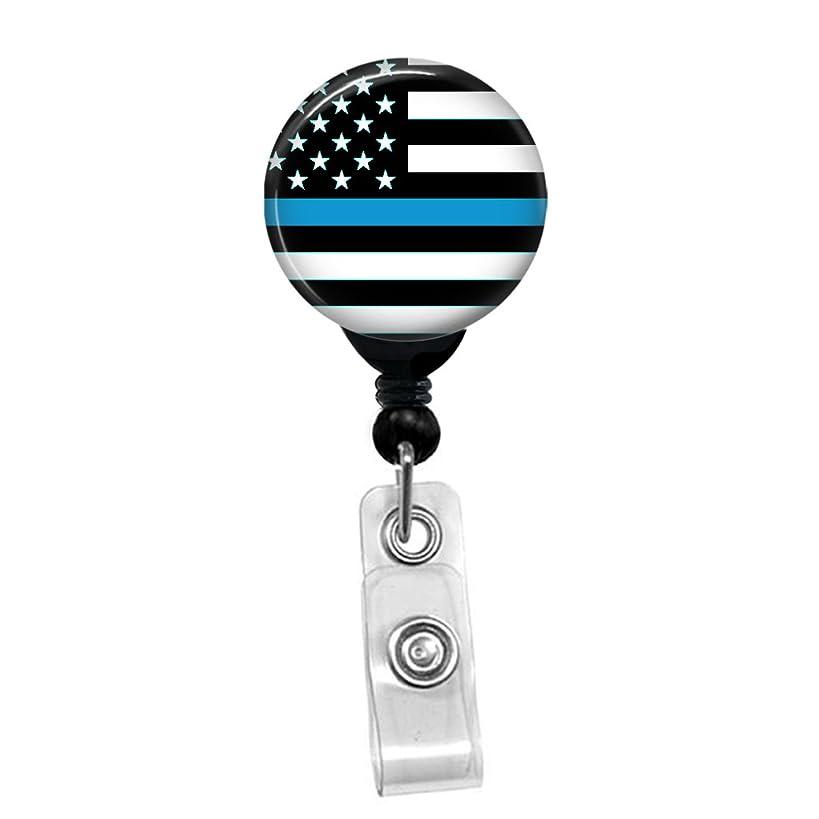Thin Blue Line - Retractable Lanyard Badge Reel - Nurse ID Name Tag Custom Clip On Badge Holder (1/4 Flag Belt Clip)