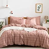 JELLYMONI 100% Natural Cotton 3pcs Plaid Duvet Cover Sets,Pink with Black Grid Geometric Pattern Printed Comforter Cover,with Zipper Closure & Corner Ties(Queen Size)