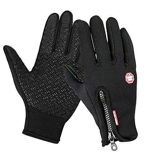 Speedrid Radfahren Handschuhe, Touchscreen Outdoor Sport Winter Bike Handschuhe, Wasserdicht Ajustable Größe Vollfinger Für Laufen Fahren Skifahren Skating Klettern (Schwarz, X-Groß)