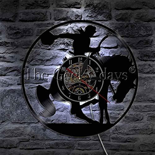 Reloj de pared 1 pieza occidental luz de noche vaquero, lámpara de pared de caballos, silla de montar caballo, reloj decorativo de vinilo vintage arte de pared de 12 pulgadas con LED