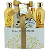Coffret cadeau beauté pour femme - Pot de bain en métal incluant un spray corporel - Collection Luxury Argan Oil - Huile d'Argan