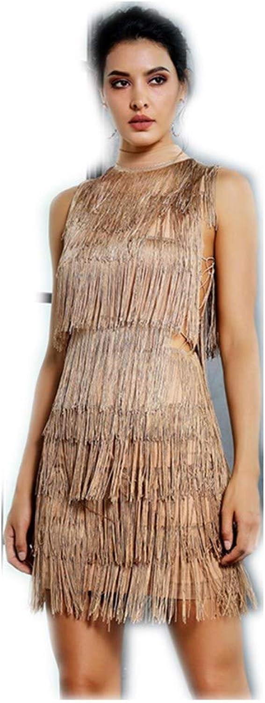 BKWIyz Nude Side Cut Out Tassel Decoration Slim Dress