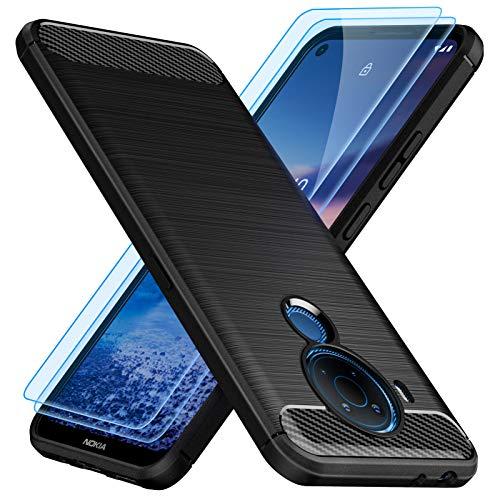 TesRank Cover per Nokia 5.4 Cover + 2 Pezzi Vetro Temperato, [Fibra di Carbonio] Morbido TPU Custodia Protezione Anti Scivolo/Antiurto per Nokia 5.4-Nero