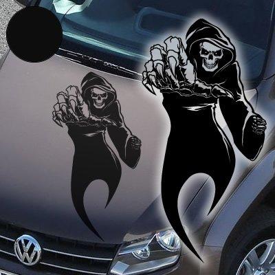 """A765 Autoaufkleber \""""Reaper\"""" Skull 60cm x 31cm schwarz (erhältlich in 49 Farben und 4 Größen)"""
