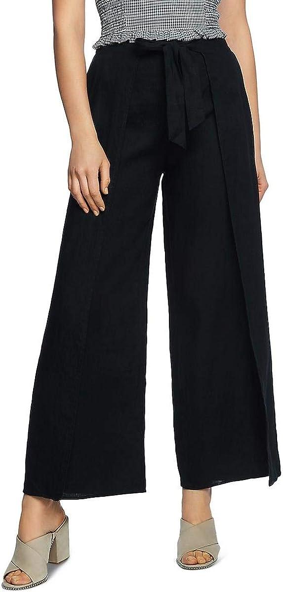 1 STATE Women's Tie Front Split Seam Wide-leg Linen Casual Pants