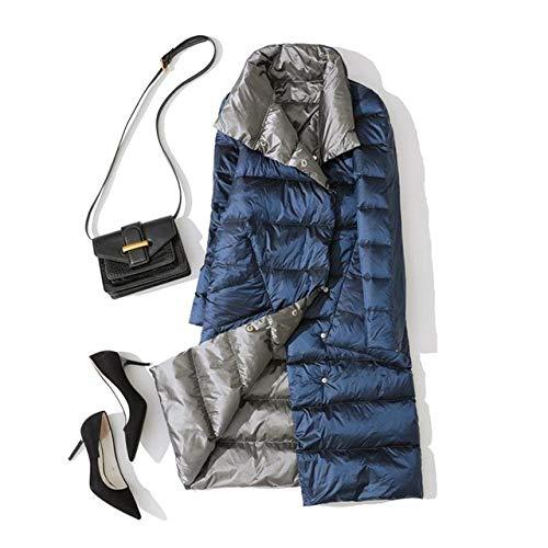 WEIYYY Tallas Grandes 3XL Chaqueta Larga de Doble Cara para Mujer Abrigo de plumón as cálidas de Invierno con Doble Botonadura Ropa de Nieve, Azul Marino, 5XL