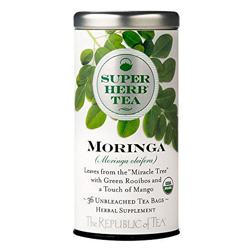 The Republic of Tea Organic Moringa SUPERHERB Herbal Tea, Tin of 36 Tea Bags