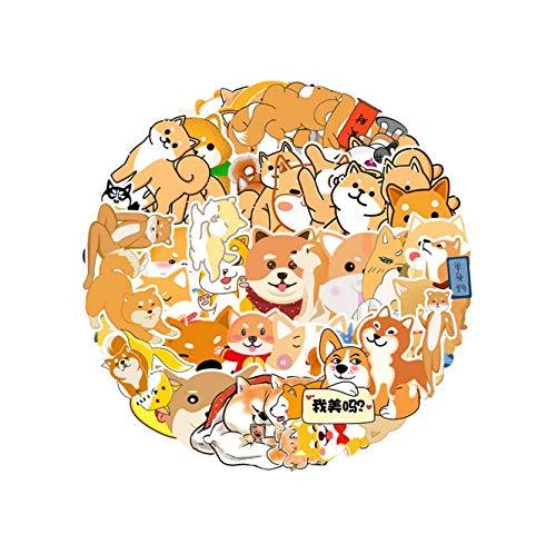 WHALES 55PCS Cartoon Shiba Inu niedlichen Gekritzel wasserdichte Aufkleber für Laptop Moto Skateboard Gepäck Kühlschrank Notebook Laptop Spielzeug Aufkleber