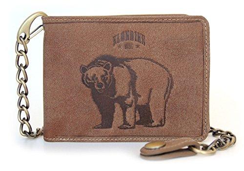 Klondike 1896 Portafoglio con catena 'Harry' in vera pelle, portafoglio a uomo e donna (Bear/mid brown)