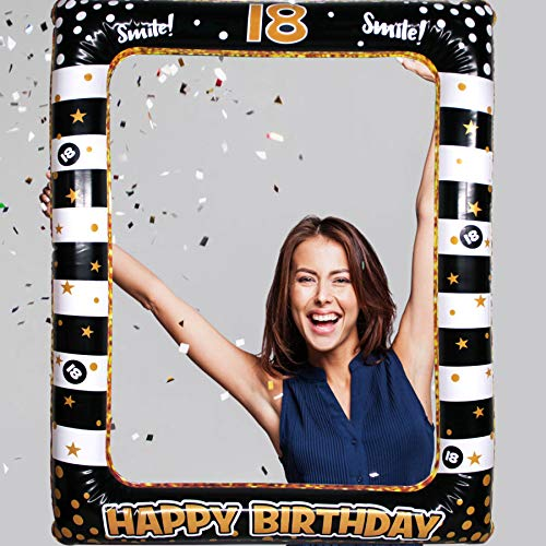 18th Birthday Inflatable Frame Photo Booth Props Party Selfie Picture Frame-Black and Gold, 18th Birthday Picture Selfie…
