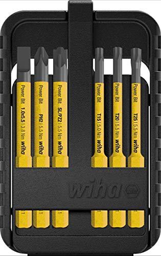 Wiha Bit Set Power slimBit für Elektriker (44106), gelbe Bits für speedE, lange und dünne Bits, Schlitz/Kreuzschlitz/Plusminus/Torx, 6 teilig in Box