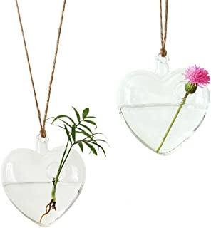 Ivolador Heart-Shaped Hanging Glass Flower Planter Vase Terrarium Container Home Garden Decor