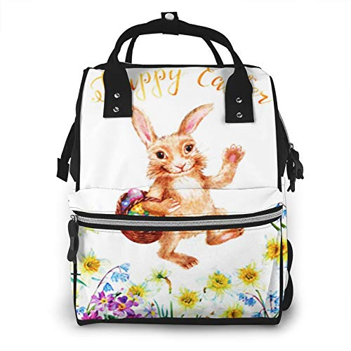 Nappy Changing Bag Backpack, Large Diaper Bags Rabbit Carrying Basket Eggs Happy Multi-Function Waterproof Maternity Nappy Back Pack for Baby Care Mom Dad Travel