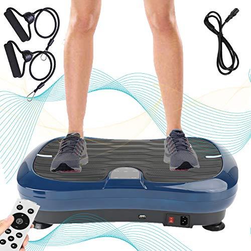 Triclicks Fitness Pedane Vibranti Ultra Slim, Piattaforma Vibrante, Fitness Pedana Vibrante e Oscillante | Altoparlanti Bluetooth | 2 Elastici | Telecomando | Musica | 180 Livelli | Portatile