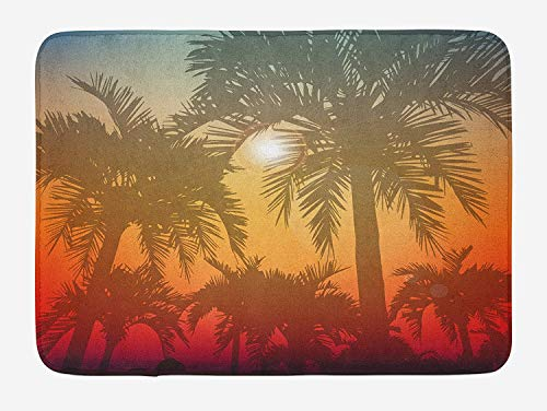 Hawaiian Bath Mat, Los Angeles Miami Tropical Places Icon Palm Trees in Abstract Style Art Print, Plush Bathroom Decor Mat with Non Slip Backing, 23.6 W X 15.7 W Inches, Grey and Orange
