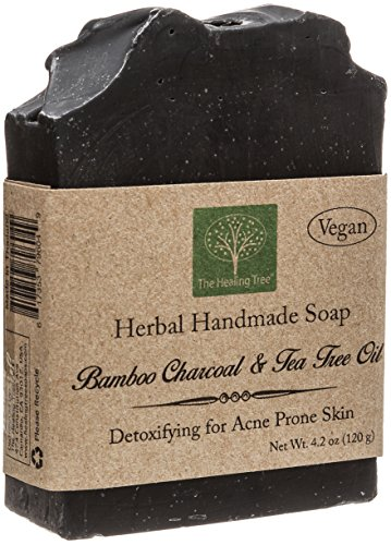 Bamboo Charcoal Soap - Tea Tree Oil Vegan Handmade for Acne Prone Skin by The Healing Tree