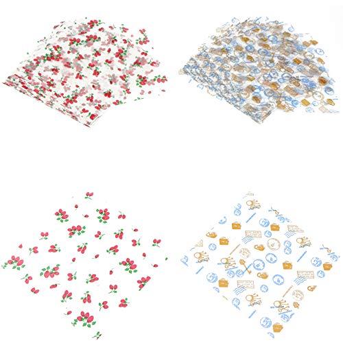 200 unidades de papel de cera de abeja, papel de papel de papel de alimentos, envoltorios para tartas, reutilizables, para frutas, verduras, pan, queso y otros alimentos, 18 x 18 cm