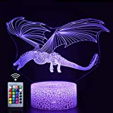 Dragon Nightlight with Remote & Touch Control,16 Colors & 4 Flashing Modes and Brightness Adjusted,USB & Batteries Powered, Satisfying Present for Children (Dragon-2)