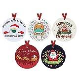 SETSAIL 5pc Anhänger Weihnachtsmann mit Mundschutz, Weihnachtlicher Baumschmuck Weihnachtsbaum Anhänger Christbaumschmuck Zur Hängen Anhänger Weihnachtsdekoration (A)