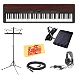 YAMAHA P155 Digital Piano with Mahogany Top-Board Bundle with Sustain...