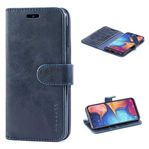 Mulbess Handyhülle für Samsung Galaxy A20e Hülle, Leder Flip Hülle Schutzhülle für Samsung Galaxy A20e Tasche, Dunkel Blau
