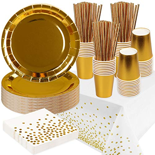 Rorchio Gold Party Tableware, Golden Disposable Dinnerware Set include Gold Paper Plates Cups Napkins Straws and Nappe for Birthday Wedding Party Supplies