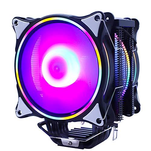 Refrigeración CPU Fan Ventilador 120mm 4pin para LGA 1150 1151 1155 1156 1366 2011 V3 X79 X99 AMD AM4 Fans de la Placa Base 160W TDP (Blade Color : RGB 2 Fans, Blade Quantity : 4PIN)