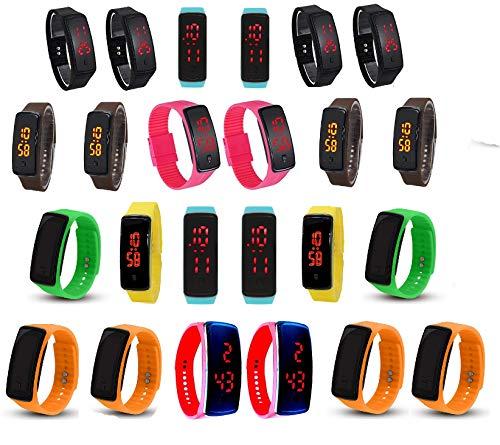Pappi-haunt - Reloj de pulsera digital LED para niños (multicolor, juego de 24 unidades)