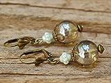 Vintage Ohrringe mit Glasperlen - hellgrau, bronze & zartes Mint