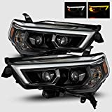 AlphaRex Luxx-Series Alpha-Black For 14-20 4Runner Switchback DRL Sequential Signal LED/Activation Light Tube Dual Projector Headlights Pair