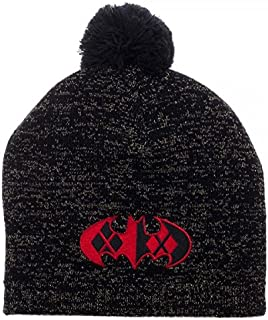 Harley Quinn Batman Logo Metallic Lurex Pom Beanie Winter Hat