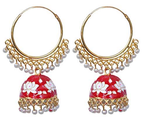 Pahal Ethnic Jaipur - Pendientes de aro Jhumka de oro blanco y rojo Meenakari esmaltados indios con perlas blancas para novias para mujer