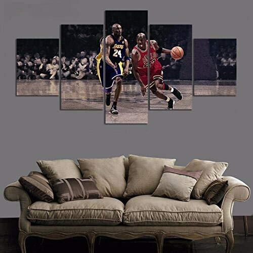 13Tdfc Cuadro En Lienzo 150X80Cm Michael Jordan Wings NBA Chicago Bulls Baloncesto Estrella Impresión De 5 Piezas Material Tejido No Tejido Impresión Artística Imagen Gráfica Decor Pared
