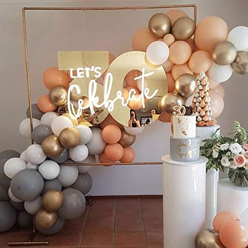 Soonlyn Latex Party Balloons 100 Pcs 12 Inch Gold White Orange Blush Gray Balloons Arch Kit Pastel Round Balloons for Wedding Bridal Shower Birthday Party Theme Party Events