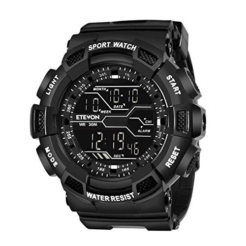 ETEVON - Reloj digital deportivo clásico con retroiluminación LED, de aspecto militar, resistente al agua, electrónico, con cronógrafo, alarma y calendario. Reloj de pulsera militar, color negro.