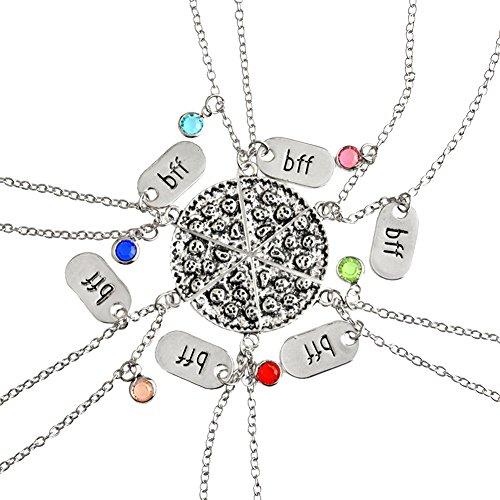 GuDeKe Pizza Slice Anhänger, Freundschaftsketten mit Gravur BBF Mehrfarbige Strass Halskette für Beste Freund Schmuck