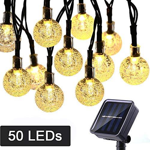 NEXVIN Solar Lichterkette Aussen, 9M 50 LED Kugel Lichterketten mit 8 Modi, Wasserdicht Solar Außenlichterkette Warmweiß für Garten, Terrasse, Hochzeit, Party Deko