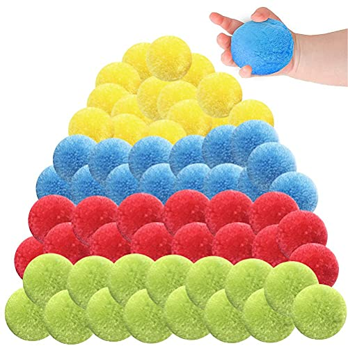 60Pcs Cotton Water Balls Toys for Teens and Adults, Reusable Splash Water Balls Beach Balls Trampoline Toys Accessories Fun Party Water Balloons Pool Toys Perfect for Outdoor Activity