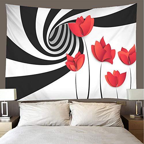 Moderno 3D Arte Tapiz Pared,Tapices Mandala Arte Hippie Pared Decoracion,Material De Poliester,Adecuado Para Dormitorio,Sala De Estar 175X230CM Rosa roja