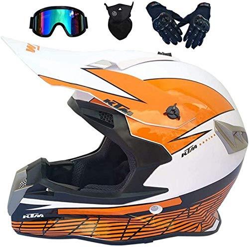 QDY Casco de Motocross, Casco de Moto Quad para niños con Gafas Off Road DH Casco de Moto para Quad eléctrico Dirt Bike BMX Cycle ATV MX Casco de Moto para Hombres Adultos Mujeres, Blanco y Nara