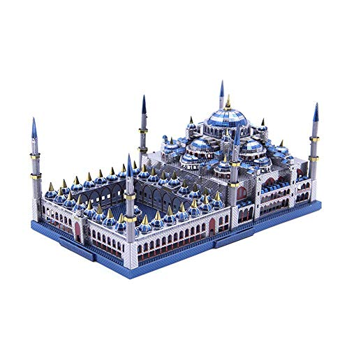LMYG 3D Metal Puzzle, Blue Mosque Building Puzzle 3D Puzzle Toy Assembly Building Toy Adult Boys and Girls Creative (With Light),Displaybox