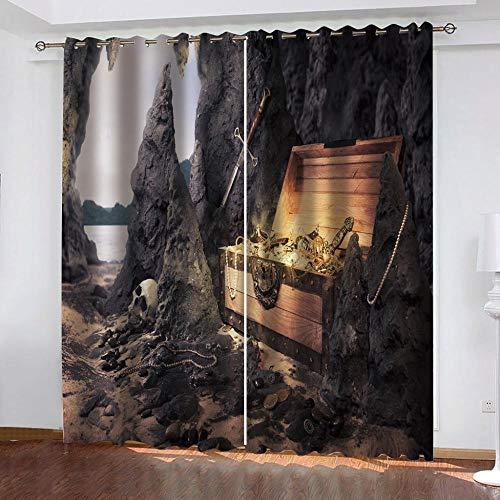 PTBDWOSA Cortina Opaca con Ojales 2 Piezas Cortinas Térmicas Aislantes Moderna Decoración Ventanas para Dormotorio Habitacion Sala Salon 182(W) X214(H) Cm 3D Tesoro De Montaña