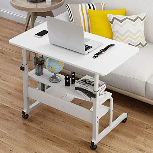 Allywit Adjustable Mobile Computer Desk 60x40cm Computer Desk Cart, Height-Adjustable from 69cm to 90cm, with 2 Layer Storage Shelf TV Stand Side Laptop Table for Home Office Desk (White)